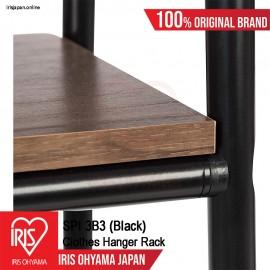 SPI3B3 (Black) = 1 UNIT Black Frame with Brown Board Open Concept Wardrobe