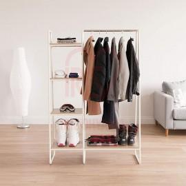 SPI3B3 (White) = 1 UNIT White Frame with Ivory Board Open Concept Wardrobe